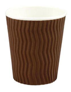 CAPRI COOL WAVE CORRUGATED COFFEE CUP -BROWN - 16OZ - 25 - SLV