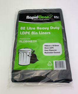 RAPID CLEAN 82L BLACK HEAVY DUTY BIN LINERS - 25-PKT