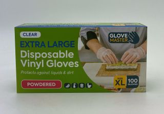 GLOVE MASTER VINYL CLEAR PRE - POWDERED GLOVES - EXTRA LARGE - 100 - PKT