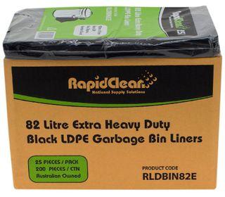 RAPID CLEAN 82L BLACK EXTRA HEAVY DUTY 82L BIN LINERS - 200-CTN