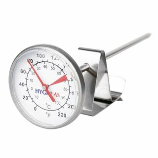 COFFEE MILK THERMOMETER 125MM S/STEEL WITH CLIP ( CB887 ) - EACH
