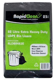 RAPID CLEAN 82L BLACK EXTRA HEAVY DUTY 82L BIN LINERS - 25-PKT