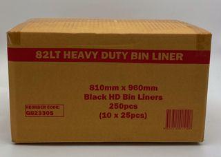 PNI TUFF 82L BLACK HEAVY DUTY BIN LINERS - 250 - CTN