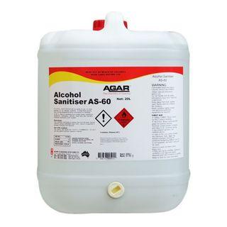 AGAR ALCOHOL SANITISER AS-60 - RTU NO RINSE SANITISER - 20L