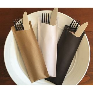 ELAG NOCHETTA CUTLERY POUCH BLACK PAPER, 65 X 190MM - 3200 CARTON ONLY