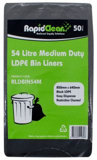 "RAPID CLEAN 54L BLACK ""MEDIUM DUTY"" BIN LINERS - 50-PKT"