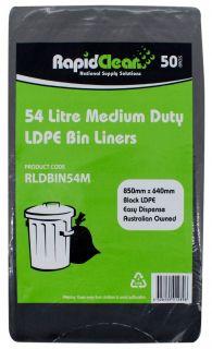"""RAPID CLEAN 54L BLACK """"MEDIUM DUTY"""" BIN LINERS - 50-PKT"""