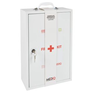 MEDIQ WORKPLACE RESPONSE FIRST AID KIT IN WHITE METAL WALL CABINET - LOW RISK ( FAEWM ) - EACH