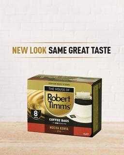 ROBERT TIMMS MOCHA KENYA COFFEE BAGS 8'S - 64 - CTN ( 8 PACKS x 8 COFFEE BAGS )