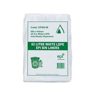 TP 82L WHITE LDPE GARGBAGE BIN LINER - EPI - 250 - CTN
