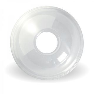 BIOPAK 300 - 700ml cup dome LID with 20mm hole - clear - 100 - SLV ( C-96D(B) ) ( 100 / SLV )