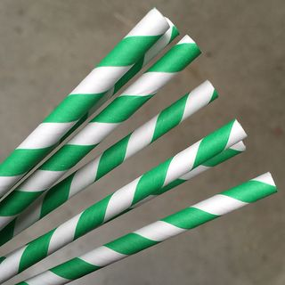 ECO-STRAW GREEN STRIPE REGULAR PAPER STRAWS - 250 - PKT