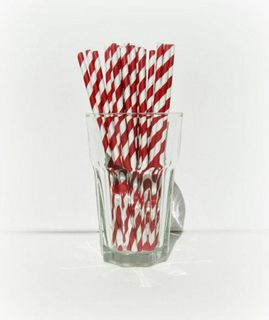 ECO-STRAW RED STRIPE REGULAR PAPER STRAWS - 250 - PKT