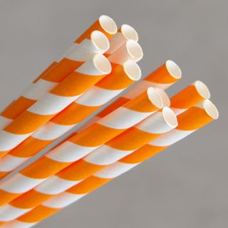 ECO-STRAW ORANGE STRIPE REGULAR PAPER STRAWS - 250 - PKT