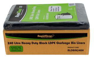 RAPID CLEAN 240L BLACK GARBAGE (WHEELIE) HEAVY DUTY BIN LINERS - 100-CTN