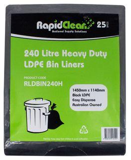 RAPID CLEAN 240L  BLACK GARBAGE (WHEELIE) HEAVY DUTY BIN LINERS - 25-PKT