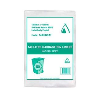 TP 140L NATURAL HDPE GARBAGE BIN LINERS - 50 - PKT
