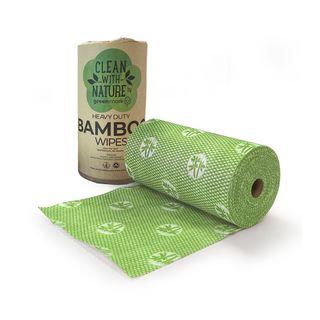 GREENMARK HEAVY DUTY BAMBOO WIPES - GREEN - 45MTR - 300 x 500MM - 90 SHEETS - 6 - CTN ( BWG )