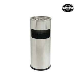COMPASS STAINLESS STEEL LOBBY BIN WITH ASHTRAY 10L - 761250 - EACH