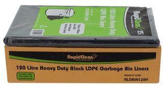 RAPID CLEAN 120L BLACK HEAVY DUTY BIN LINERS - 100 -CTN