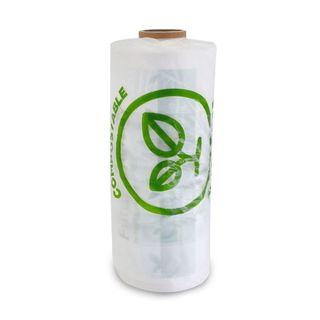 FUTURE FRIENDLY COMPOSTABLE PRINTED PRODUCE ROLL BAGS - GUSSETED ( 450mm L x 250mm W + 110mm G ) - ROLL