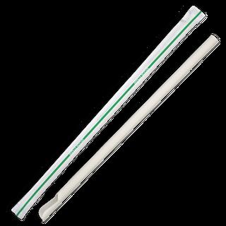 BIOPAK 8mm Individually Wrapped White Spoon Biostraws - 3000 - CTN ( JP-PBS-8X210-IW )