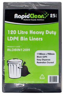 RAPID CLEAN 120L  BLACK HEAVY DUTY BIN LINERS - 25-PKT
