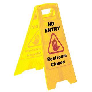 "SABCO WARNING SIGN - YELLOW ""NO ENTRY RESTROOM CLOSED"" - A-FRAME ( SABC-2422A ) - EACH"
