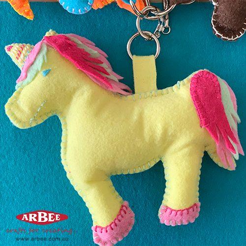 Handmade felt unicorn toy