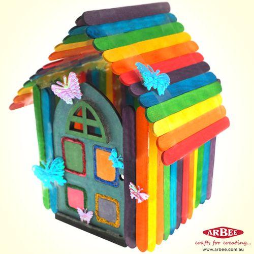 Rainbow house made of craft sticks