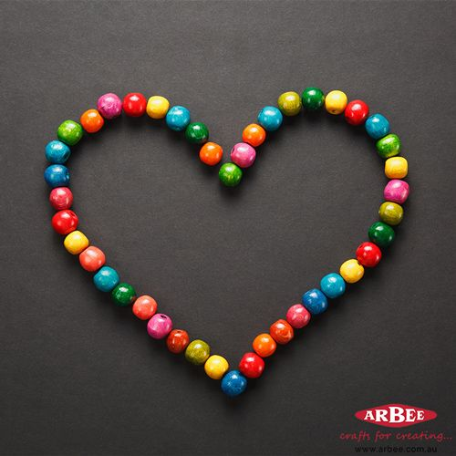 Colourful Wooden Beads in Heart Shape