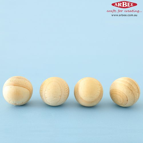 Raw Wooden Beads in a Row