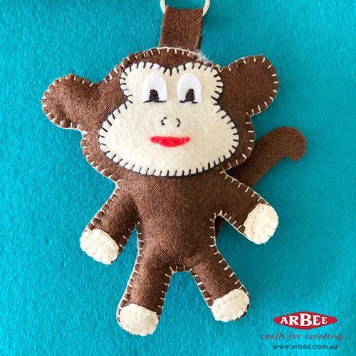 Handmade felt monkey toy