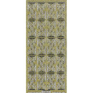 Stickers Corners Floral Glitter Gold