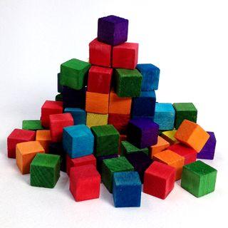 Wood Cubes 15mm Coloured Pkt 72