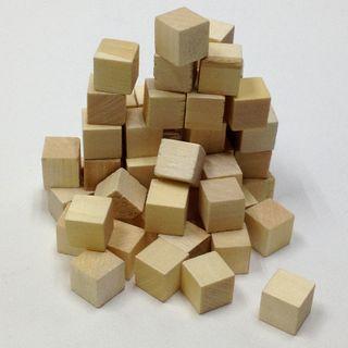 Wood Cubes 15mm Natural Pkt 72