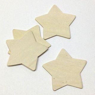 Plywood Shape Star 77x75x2mm Pkt 4