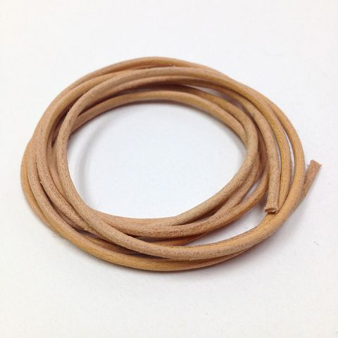 Leather Thonging 1mm Round Natural 25m