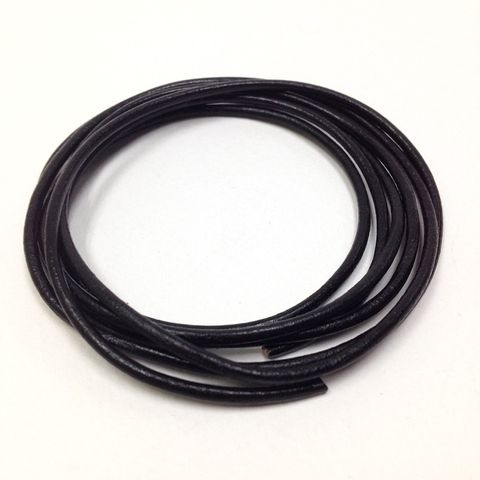 Leather Thonging 1mm Round Black 25m