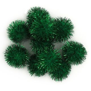 Glitter Pom Poms 10mm Green Pkt 100