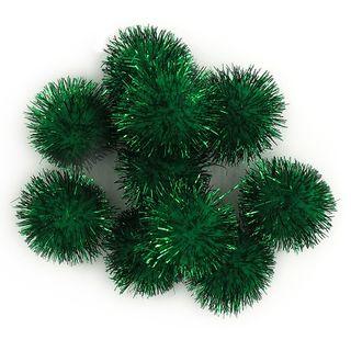 Glitter Pom Poms 10mm Green Pkt 100
