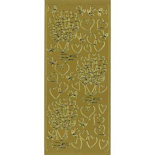 Sticker Hearts & Flowers Gold