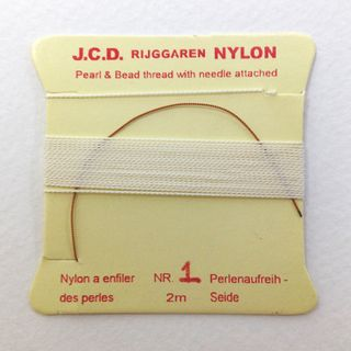 Bead Thread w/Needle Fine White 2m