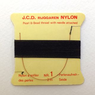 Bead Thread w/Needle Fine Black 2m Pkt10