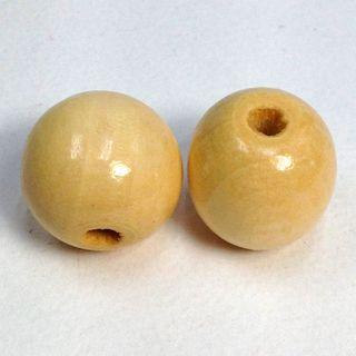 Wood Beads Round 40mm Natural Pkt 2