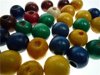 Wood Beads Round 6mm Assorted Pkt 50