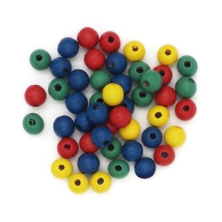 Wood Beads Round 8mm Assorted Pkt 50