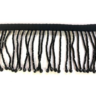 Bead Fringe Trim Black 13m