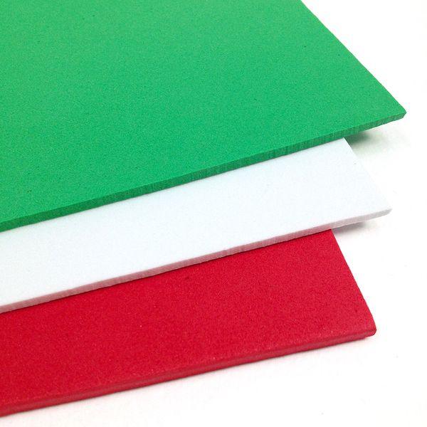 Craft Foam A4 Sheet 3mm Rd/Grn/Wh Pk3