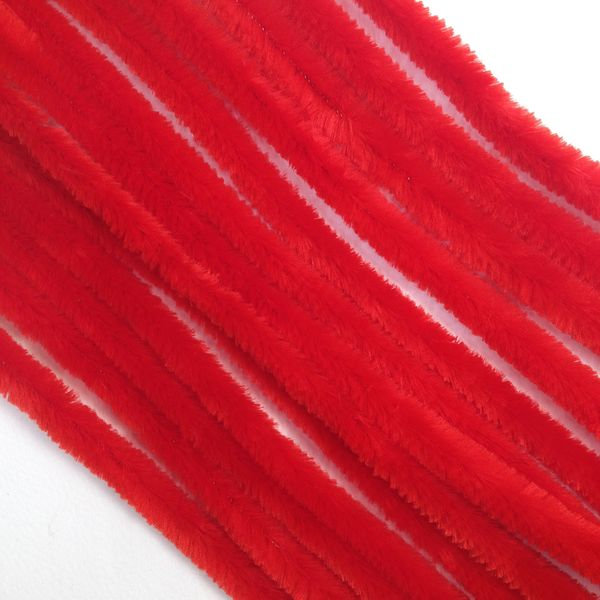 Chenille Sticks 12mm Red Pkt 100